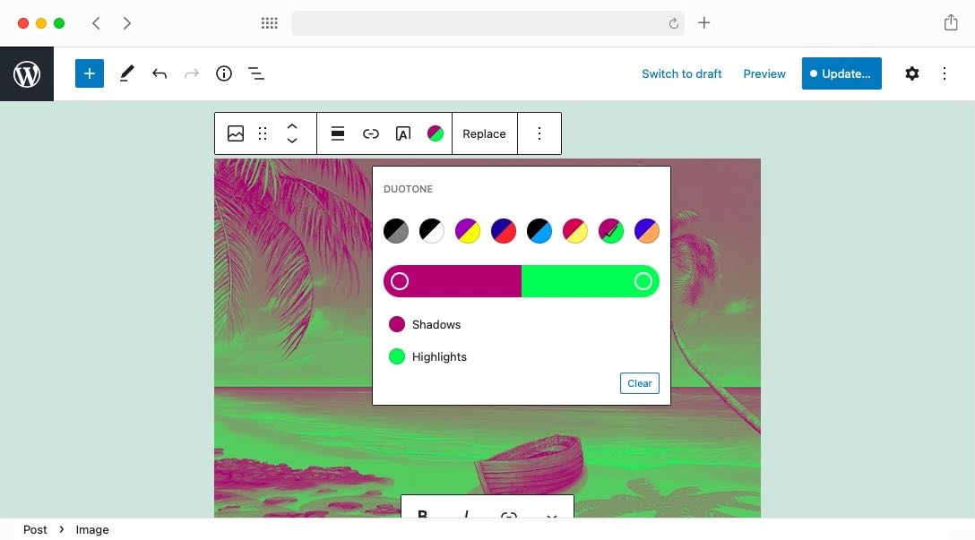 The new Duotone Filters are a fun way to add some color to your site.